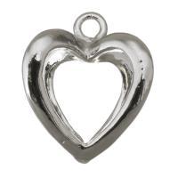 Messing Herz Anhänger, silberfarben plattiert, hohl, frei von Nickel, Blei & Kadmium, 14x16x18mm, ca. 100PCs/Menge, verkauft von Menge