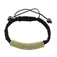 Strass Woven Ball Armbänder, Lehm pflastern, mit Nylonschnur & Non- magnetische Hämatit, einstellbar & für Frau & mit Strass, gelb, 47x9mm, Länge:ca. 7.5 ZollInch, 10SträngeStrang/Tasche, verkauft von Tasche