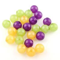 Gemischte Acrylperlen, Acryl, rund, großes Loch, gemischte Farben, 15x15mm, Bohrung:ca. 3mm, 120PCs/Tasche, verkauft von Tasche