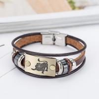 PU Leder kombiniertes Armband, mit Zinklegierung, plattiert, Konstellation Schmuck & unisex & verschiedene Stile für Wahl, 10mm, verkauft per ca. 7.5 ZollInch Strang