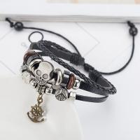 PU Leder kombiniertes Armband, mit Zinklegierung, plattiert, geflochten & unisex, schwarz, 60mm, Länge:ca. 7.8 ZollInch, 6SträngeStrang/Menge, verkauft von Menge