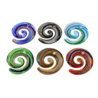 Goldsand Lampwork Anhänger, Spirale, Silberpulver, gemischte Farben, 47x50x7mm, Bohrung:ca. 5mm, 12PCs/Box, verkauft von Box