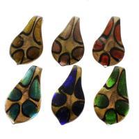Goldsand Lampwork Anhänger, gemischte Farben, 33x58x16mm, Bohrung:ca. 8mm, 12PCs/Box, verkauft von Box