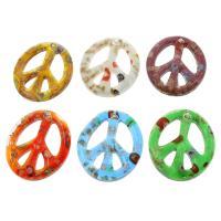 Goldsand Lampwork Anhänger, Frieden Logo, innen Blume, gemischte Farben, 43x50x6mm, Bohrung:ca. 2mm, 12PCs/Box, verkauft von Box