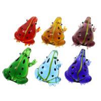 Mode Lampwork Anhänger, Frosch, uneben, gemischte Farben, 36x48x19mm, Bohrung:ca. 8mm, 12PCs/Box, verkauft von Box