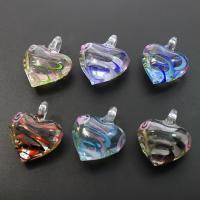 Innerer Twist Lampwork Anhänger, Herz, innen Twist, gemischte Farben, 31x37x16mm, Bohrung:ca. 7mm, 12PCs/Box, verkauft von Box