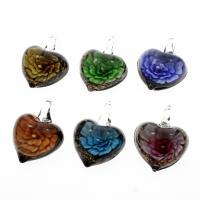 Innen Blume Lampwork Anhänger, flacher Herz, Goldsand, gemischte Farben, 31x41x17mm, Bohrung:ca. 8mm, 12PCs/Box, verkauft von Box