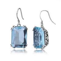 Edelstein Tropfen Ohrring, Sterling Silber Haken, platiniert, für Frau, keine, 30mm, verkauft von Strang