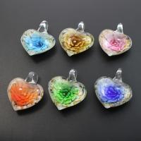 Innen Blume Lampwork Anhänger, Herz, Goldsand, gemischte Farben, 30x41x15mm, Bohrung:ca. 7mm, 12PCs/Box, verkauft von Box
