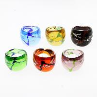 Lampwork Fingerring, unisex & Silberfolie, gemischte Farben, 25x22mm, Größe:9.5, 12PCs/Box, verkauft von Box