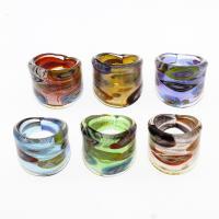 Lampwork Fingerring, unisex & Silberpulver & innen Blume, gemischte Farben, 25x24mm, Größe:9.5, 12PCs/Tasche, verkauft von Tasche