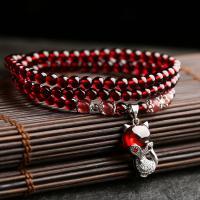 Natürlicher Granat -Armband, mit 925 Sterling Silber, verschiedene Stile für Wahl & für Frau & Multi-Strang, rot, 4.5MM, Länge:ca. 20 ZollInch, verkauft von PC