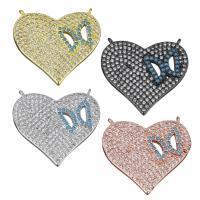 Messing Herz Anhänger, plattiert, Micro pave Zirkonia & Doppelloch, keine, frei von Nickel, Blei & Kadmium, 23x21x3mm, Bohrung:ca. 1mm, ca. 10PCs/Menge, verkauft von Menge