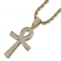 Messing Pullover Halskette, plattiert, Micro pave Zirkonia & für den Menschen, keine, frei von Nickel, Blei & Kadmium, 20x50mm, verkauft per ca. 23.6 ZollInch Strang