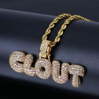 Messing Pullover Halskette, plattiert, Micro pave Zirkonia & für den Menschen, keine, frei von Nickel, Blei & Kadmium, 55x26mm, verkauft per ca. 24 ZollInch Strang