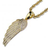 Messing Pullover Halskette, Federn, plattiert, Micro pave Zirkonia & für den Menschen, keine, frei von Nickel, Blei & Kadmium, 15x47mm, verkauft per ca. 24 ZollInch Strang