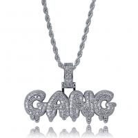 Messing Pullover Halskette, plattiert, Micro pave Zirkonia & für den Menschen, keine, frei von Nickel, Blei & Kadmium, 52x35mm, verkauft per ca. 24 ZollInch Strang