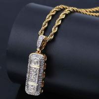 Messing Pullover Halskette, goldfarben plattiert, Micro pave Zirkonia & für den Menschen, metallische Farbe plattiert, frei von Nickel, Blei & Kadmium, 10x35mm, verkauft per ca. 23.6 ZollInch Strang