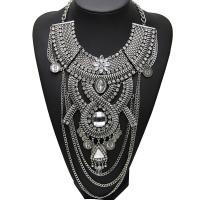 Kristall Zinklegierung Halskette, mit Kristall, Zinklegierung Karabinerverschluss, plattiert, für Frau, keine, frei von Blei & Kadmium, 250mm, verkauft von Strang