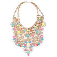 Zinklegierung Schmuck Halskette, Zinklegierung Karabinerverschluss, plattiert, für Frau & mit Strass, keine, frei von Blei & Kadmium, 150mm, verkauft von Strang