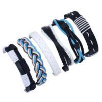 Kuhhaut Armband-Set, mit Hanfgarn & PU Leder, unisex & gewebte Muster, 180mm, Länge:ca. 7 ZollInch, verkauft von setzen