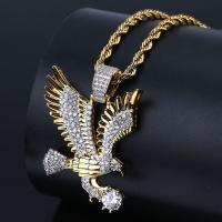 Messing Pullover Halskette, goldfarben plattiert, Micro pave Zirkonia & für den Menschen, frei von Nickel, Blei & Kadmium, 33x41mm, verkauft per ca. 23.6 ZollInch Strang