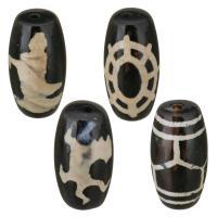 Natürliche Tibetan Achat Dzi Perlen, verschiedene Stile für Wahl, schwarz, 10x20x10mm, Bohrung:ca. 1.5mm, ca. 5PCs/Menge, verkauft von Menge