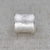 990 Sterling Silber Schieber Perlen, Trommel, versilbert, 10mm, Bohrung:ca. 4mm, 5PCs/Menge, verkauft von Menge