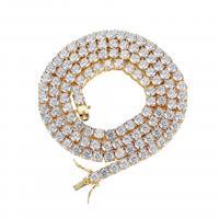 Messing Halskette, plattiert, unterschiedliche Länge der Wahl & Micro pave Zirkonia & für den Menschen, keine, frei von Nickel, Blei & Kadmium, verkauft von Strang