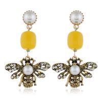 Zinklegierung Ohrringe, mit ABS-Kunststoff-Perlen, Biene, goldfarben plattiert, für Frau & mit Strass, keine, frei von Nickel, Blei & Kadmium, 35x55mm, verkauft von Paar