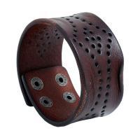 Kunstleder Armband, mit Zinklegierung, Zinklegierung Druckknopf Verschluss, Mehrloch- & für den Menschen, braun, 38x230mm, 10SträngeStrang/Menge, verkauft von Menge