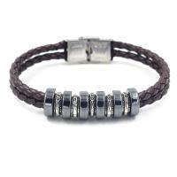Zinklegierung Armband, mit PU Leder & Hämatit, unisex, keine, frei von Blei & Kadmium, Länge:ca. 8 ZollInch, 10SträngeStrang/Menge, verkauft von Menge