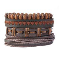 Hanfgarn Armband, mit Kunstleder & Holz, für den Menschen & Multi-Strang, braun, Länge:ca. 6 ZollInch, 10SträngeStrang/Menge, verkauft von Menge