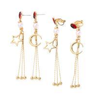 Zinklegierung asymmetrische Ohrringe, mit ABS-Kunststoff-Perlen, goldfarben plattiert, verschiedene Stile für Wahl & für Frau, frei von Nickel, Blei & Kadmium, 85x8mm, 2PCs/Menge, verkauft von Menge