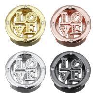 Messing Diacharme, Wort Liebe, plattiert, Micro pave Zirkonia & hohl, keine, frei von Nickel, Blei & Kadmium, 14x14x4.50mm, Bohrung:ca. 2.5x10.5mm, 10PCs/Menge, verkauft von Menge