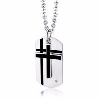 Titanstahl Halskette, plattiert, unisex & Emaille & mit kubischem Zirkonia, weiß und schwarz, 45x24mm, verkauft von PC