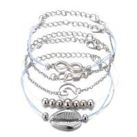 Zinklegierung Armband-Set, mit Nylonschnur, plattiert, für Frau, Silberfarbe, frei von Nickel, Blei & Kadmium, 160x50mm,180x50mm, 5SträngeStrang/setzen, verkauft von setzen
