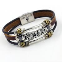 Kunstleder Armband, mit Zinklegierung, Edelstahl Ring-Ring Verschluss, plattiert, unisex & hohl, braun, 12x220mm, Länge:ca. 8 ZollInch, 10SträngeStrang/Menge, verkauft von Menge