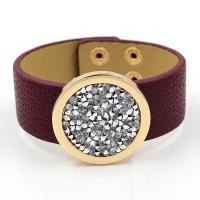 PU Leder Armband, mit Zinklegierung, goldfarben plattiert, unisex & mit Strass, keine, Länge:ca. 8 ZollInch, 10PCs/Menge, verkauft von Menge