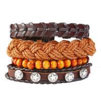 PU Leder Armband, mit Kunstleder & Gewachsten Baumwollkordel & Zinklegierung, plattiert, unisex & Multi-Strang, keine, Länge:ca. 6 ZollInch, 10SträngeStrang/Menge, verkauft von Menge