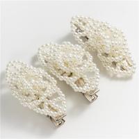 Haarschieber, Kunststoff Perlen, mit Zinklegierung, für Frau, weiß, 50*25mm, 3PCs/Menge, verkauft von Menge