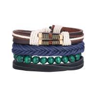 Leder Armband-Set, mit Baumwollfaden, plattiert, verschiedene Größen vorhanden & für den Menschen, farbenfroh, frei von Nickel, Blei & Kadmium, 35mm, 4SträngeStrang/setzen, verkauft von setzen