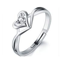 925er Sterling Silber Manschette Fingerring, Herz, platiniert, Micro pave Zirkonia & für Frau, 20x23mm, Größe:6-8, 5PCs/Menge, verkauft von Menge