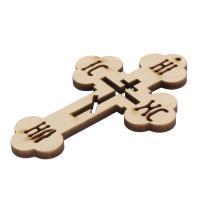 Holz Cabochon, Kreuz, geschnitzt, mit Brief Muster & hohl, beige, 59x90x4mm, Bohrung:ca. 2mm, ca. 1000PCs/Tasche, verkauft von Tasche