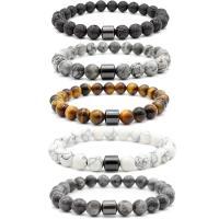 Edelstein Armbänder, mit Hämatit, poliert, unisex, keine, 8mm, Länge:ca. 8 ZollInch, 10SträngeStrang/Menge, verkauft von Menge