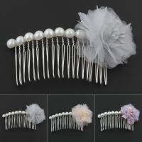 Dekoratives Haarkämmchen, Eisen, mit Etamine & Kunststoff Perlen, Blume, silberfarben plattiert, für Frau, keine, frei von Nickel, Blei & Kadmium, 90*55*25mm, verkauft von PC