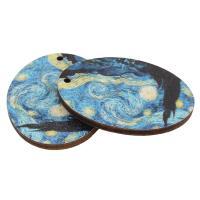 Holz Ohranhänger Zubehör, flachoval, Kunstdruck, verschiedene Muster für Wahl, keine, 30x40x3mm, Bohrung:ca. 2mm, ca. 1000PCs/Tasche, verkauft von Tasche