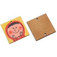 Holz Ohranhänger Zubehör, Quadrat, Kunstdruck, verschiedene Muster für Wahl, keine, 30x3mm, Bohrung:ca. 2mm, ca. 1000PCs/Tasche, verkauft von Tasche