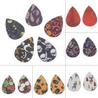 PU Leder Anhänger, Tropfen, verschiedene Muster für Wahl, keine, 38x56x2mm, ca. 50PCs/Tasche, verkauft von Tasche