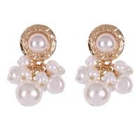 Zinklegierung Ohrringe, mit ABS-Kunststoff-Perlen, Zinklegierung Stecker, plattiert, für Frau, goldfarben, 50x35mm, verkauft von Paar